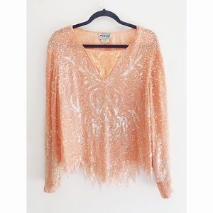 FINAL FLASH- 70s Hand-Sequined Dream Blouse